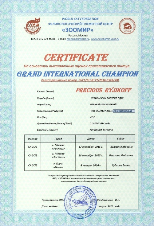 Certificate Grand International Champion